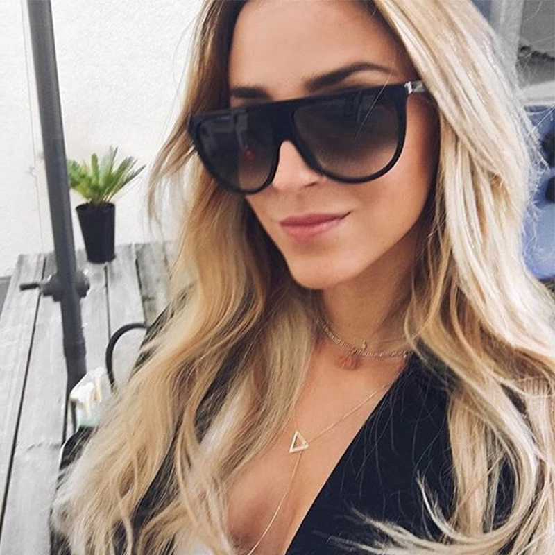 Flat Top Fashion Woman Sunglasses Brand Designer Unisex Oversized Sunglasses Female 2017 Oversize Eyewear Vintage Sun Glasses