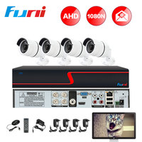 Funi AHD DVR Kit 4CH 1080N AHD DVR 4PCS 1080P AHD Camera CCTV Surveillance Kit Outdoor