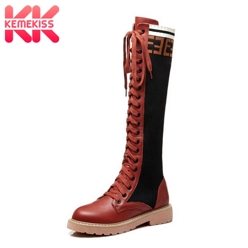 KEMEKISS British Style Real Leather Women Knee High Boots Lace Up Mixed Color Flats Shoes Round Toe Punk Women Boots Size 34-40 british style women s knee high boots with solid color and ruffle design