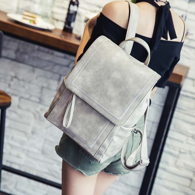New bag Trend Of Korean Backpack Academy Pu Leather Leisure Travel Schoolbag Backpacks For Teenage Girls Women Bag