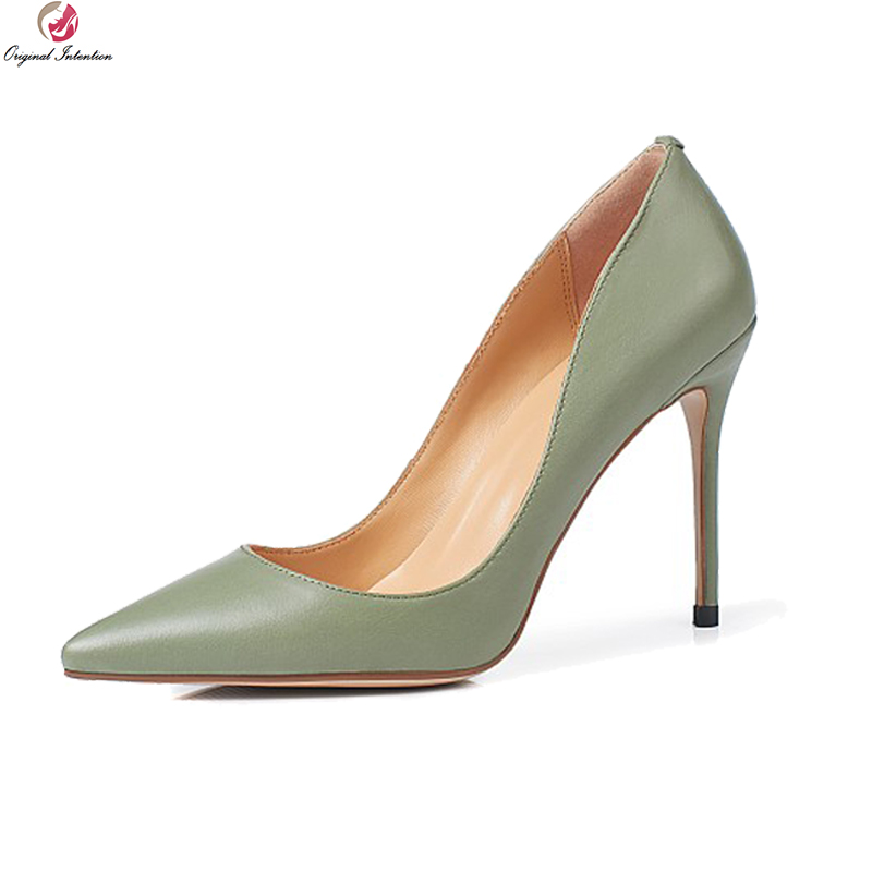 Original Intention New Fashion Women Pumps Genuine Leather Pointed Toe Thin Heels Pumps Black Green Nude Shoes Woman US Size 3-9 bowknot pointed toe women pumps flock leather woman thin high heels wedding shoes 2017 new fashion shoes plus size 41 42