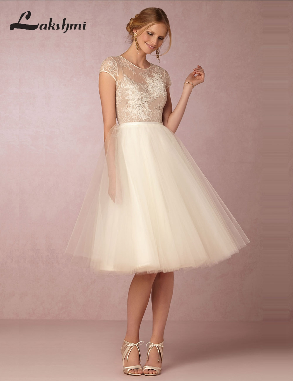 Elegant o neck short sleeve knee length wedding dresses a for Short elegant wedding dresses