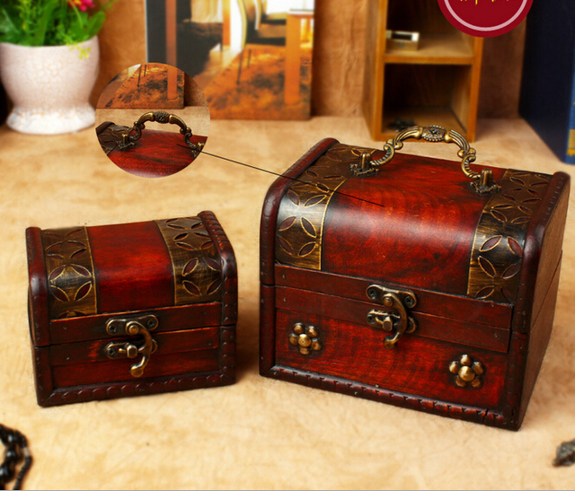 Retro books Desktop box storage box wooden jewelry box with lock