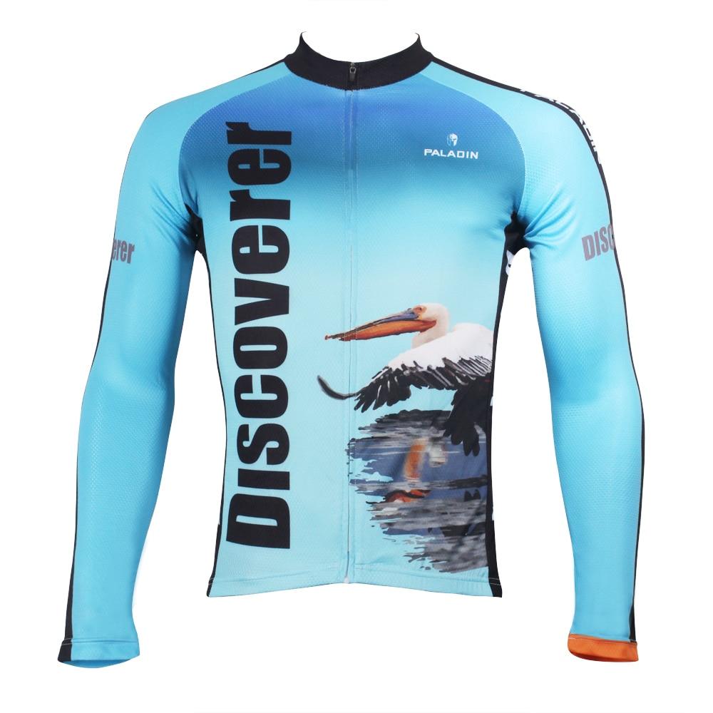 Objevte svět Na cestě Daigo Flamingo Muži Cyklistický dres s dlouhým rukávem Prodyšné Ciclismo Ropa Modré Cyklistické oblečení