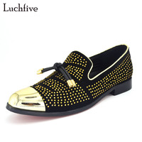 2017 New Fashion Rivets Studded Men Pumps Gold Metallic Studded Loafers Casual Party Wedding Black Color