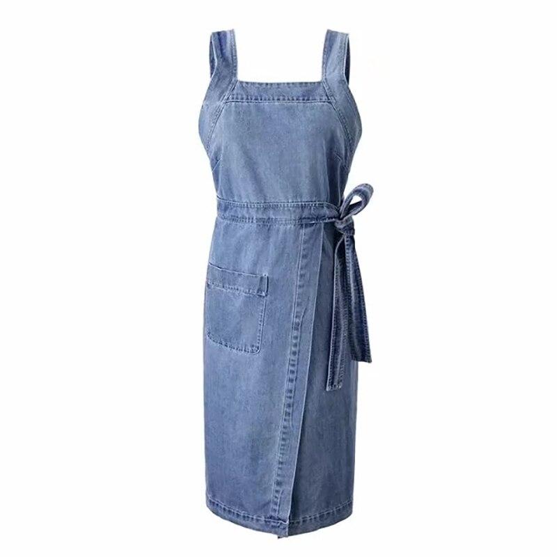 263aacb0279 Sexy Mince Robe Ceinture Poche Occasionnel Salopette Midi Bleu Blue D été Jean  Femmes Denim Sans ...