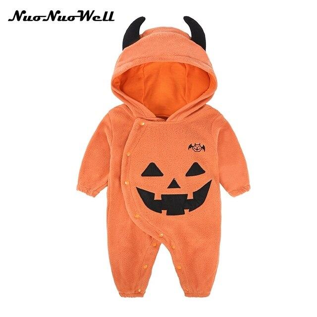 0236972fa NNW Fleece Baby Romper Halloween Costume Pumpkin Baby Clothing one ...