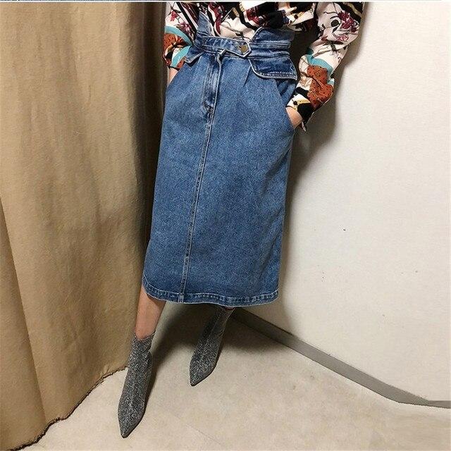 27e4879914 limiguyue women denim skirt high waist streetwear straight loose jeans  runway skirt casual designer long women skirt T467
