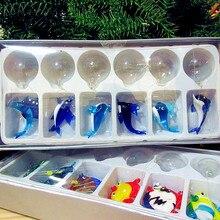 6pcs Custom blue handmade murano floating glass bubble Shark, sea lion, dolphin, whale decorative Aquarium Marine Animal Pendant