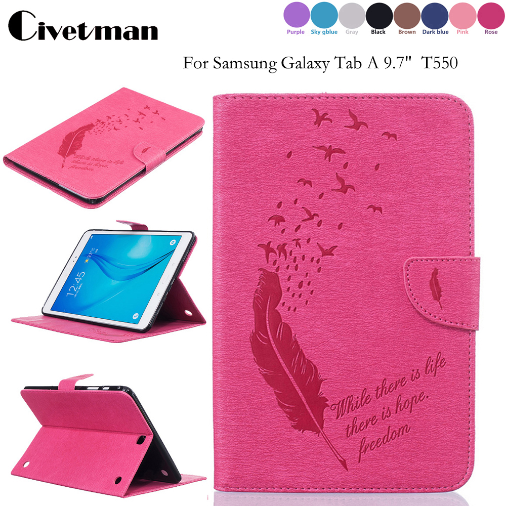 Feather Smart Cover For Funda Samsung Galaxy Tab A 9.7 T551 T550 SM-T555 Leather Stand Case For Samsung P550 9.7 inch
