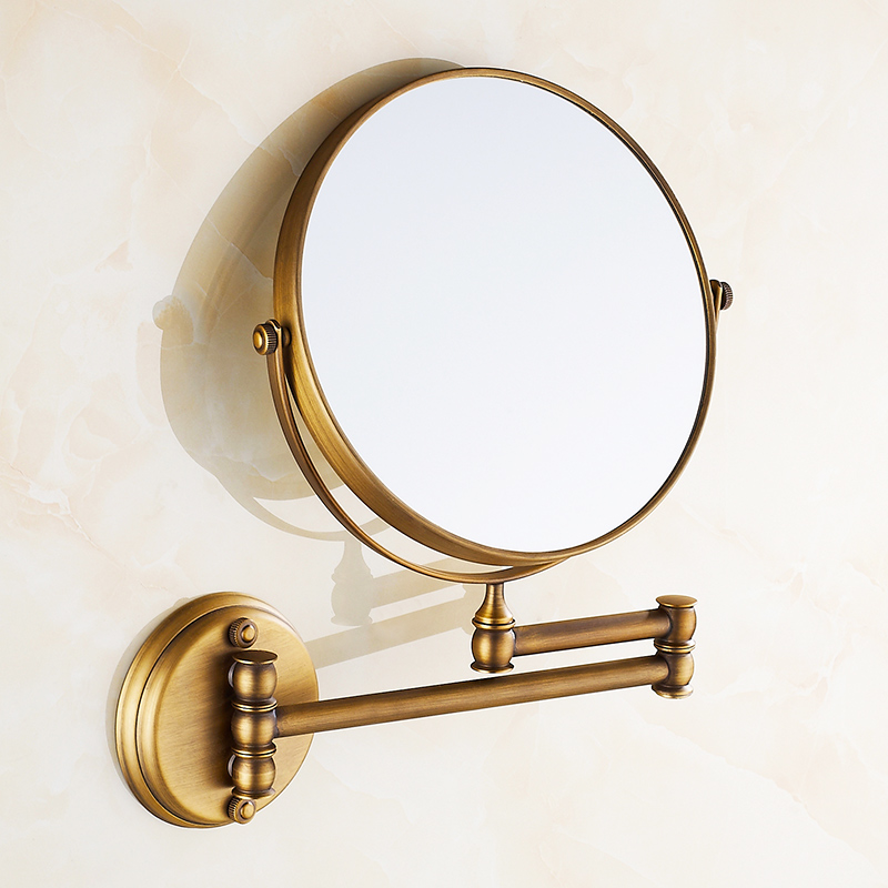 Mirrors 3 X Magnifying Mirror Of Bathroom Makeup Mirror Folding Shave 8 Dual Side Antique Copper Wall Round Mirrors Sj42 large 8 inch fashion high definition desktop makeup mirror 2 face metal bathroom mirror 3x magnifying round pin 360 rotating
