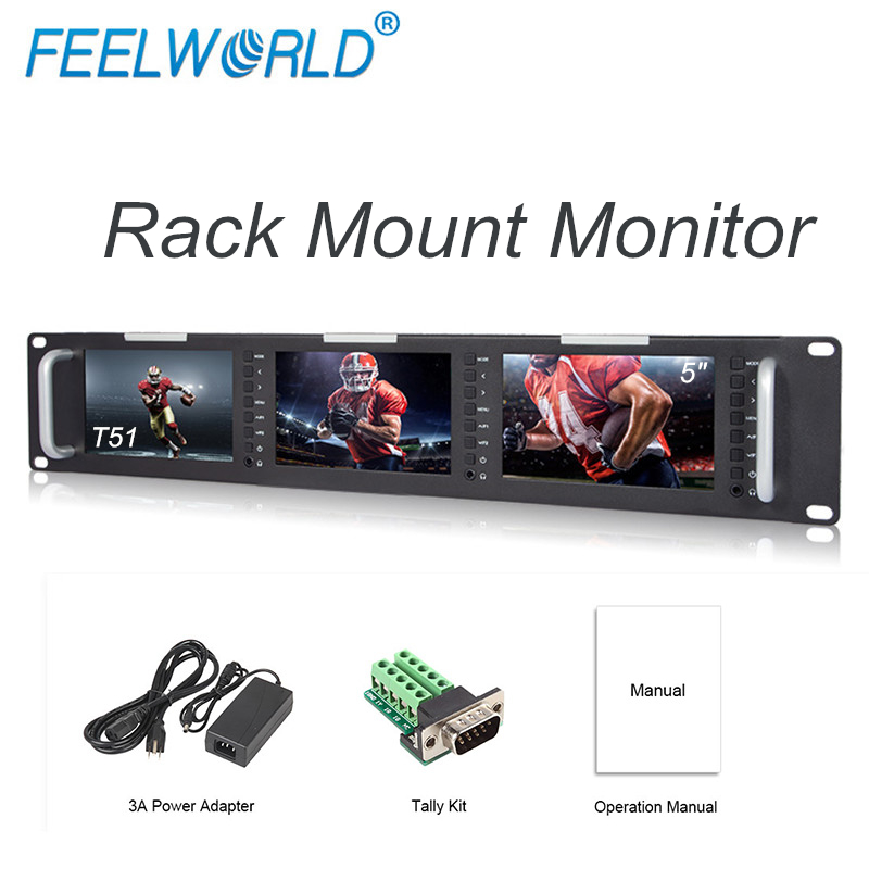 Feelworld T51 Triple 5 Inch 2RU LCD 3G-SDI HDMI Input Output Rack Mount Monitor Broadcast Level Quality Monitor feelworld d71 dual 7 inch 3ru ips 1280 x 800 3g sdi hdmi lcd rack mount monitor portable 2 screens broadcast monitor