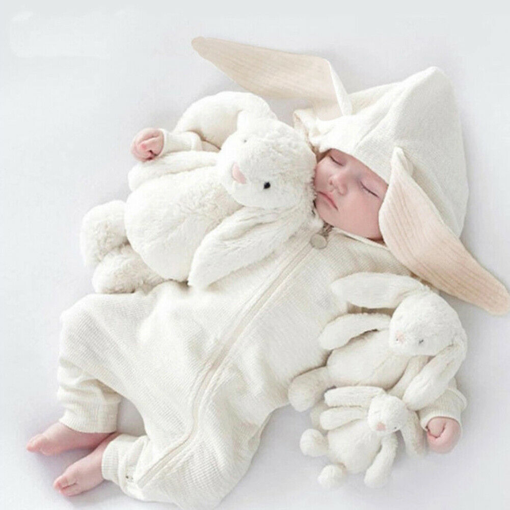 0 24M Newborn Baby Boy Girl Bunny Rompers Long Ear Hooded Jumpsuit Rabbit Playsuit Autumn Winter Baby Boy Girl Clothes Costumes in Rompers from Mother Kids