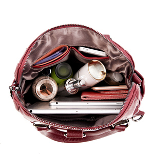 Image 4 - 2019 תכליתי נשים תרמילי עור נשי בציר כתף שקיות sac Dos Femme גבירותיי Bagpack מוצק נסיעות חזרה חבילה