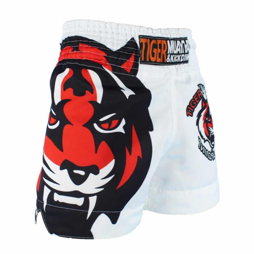 MMA Tiger Muay Thai Tinju Pertandingan Tinju Sanda Latihan Bernapas Celana Pendek Muay Thai Pakaian Tinju Tiger Muay Thai MMA