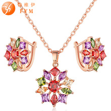 FYM Luxury Anniversary Colorful Zircon Jewelry Sets For Women Rose Gold color inlay CZ Pendant Necklace & Earrings Jewelry Sets anka hot sell luxury star flower shape necklace earrings jewelry sets for women top zircon rose gold color weddings sets 25876
