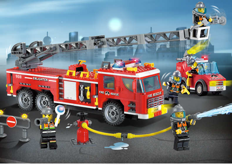 building block set compatible with lego city fire engine scaling ladder 3D Construction Brick Educational Hobbies Toys for Kids jie star fire ladder truck 3 kinds deformations city fire series building block toys for children diy assembled block toy 22024