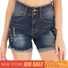 Jeans women's row buckle sexy cotton straight high waist denim shorts female summer new hole elastic shorts Fashion Lady Women
