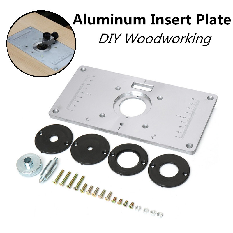 Aluminum router table insert plate with 4pcs router insert rings aluminum router table insert plate with 4pcs router insert rings wood router tools for woodworking benches diy home accessories in wood routers from tools keyboard keysfo Images