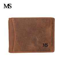 купить MS New Crazy Horse Leather Men Wallets Cow Leather Men Purse High Quality Male Card ID Holder TW1670 по цене 911.19 рублей