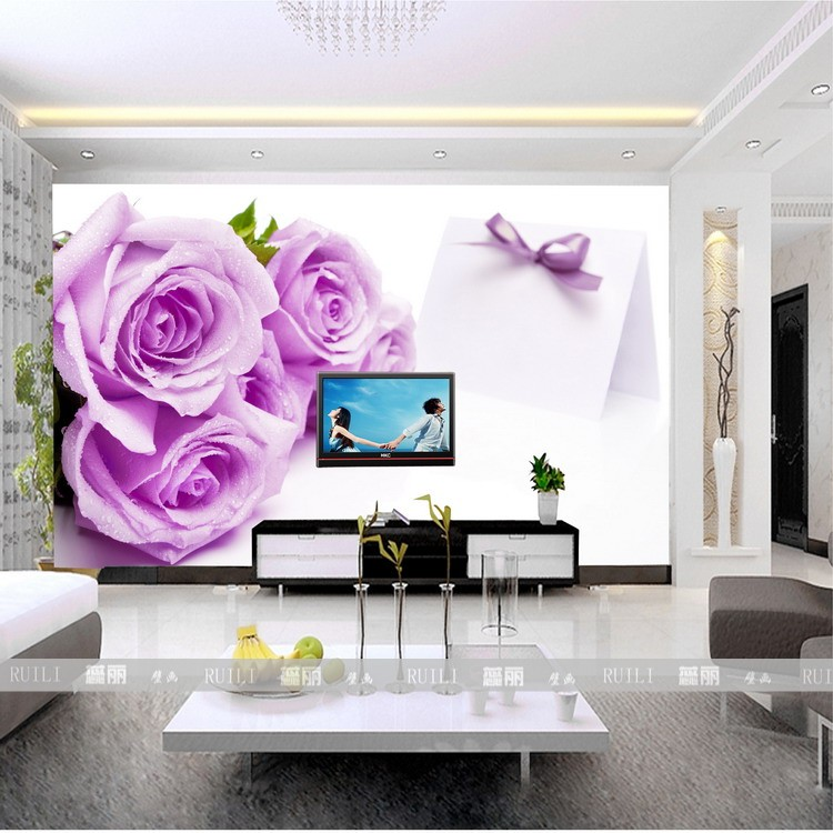 Custom 3D stereoscopic large mural wall paper romantic European-style purple rose bedroom living room TV sofa backdrop wallpaper 3d stereoscopic large mural custom wallpaper the living room backdrop bedroom fabric wall paper murals fashion romantic roses