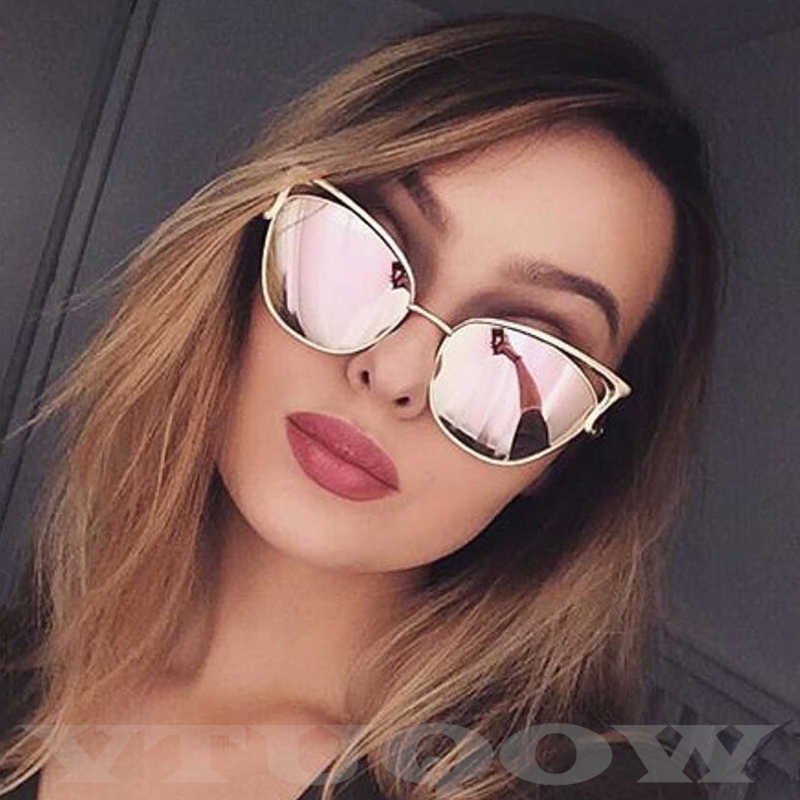 New Luxury Cat Eye Sunglasses Women Retro Brand Designer High Quality Vintage Sun Glasses Female Fashion Coating Mirror Sunglass