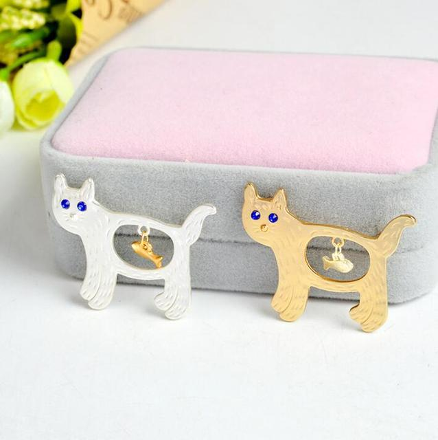 Cat and Fish Shaped Brooches