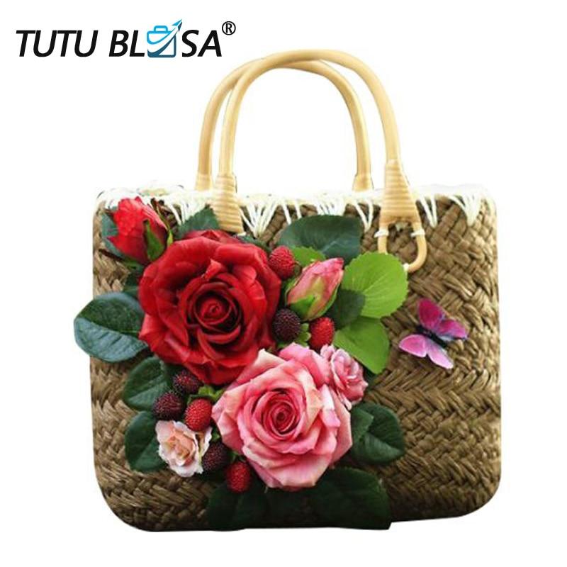 Straw-Bags Flowers Woven Handmade Summer Luxury Feminia for Travel Women's Bolsa
