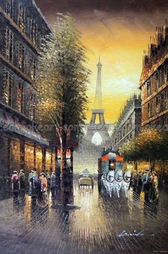 Ручная роспись Парижа Франция закат Эйфелева башня магазины масло на холсте Живопись Искусство Высокое качество