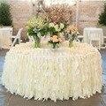 Romantic Ruffles Faldas de Mesa Hecho A Mano Decoraciones de Mesa de Boda Por Encargo de Marfil Blanco de Organza Volantes de Tela Tabla de la Torta