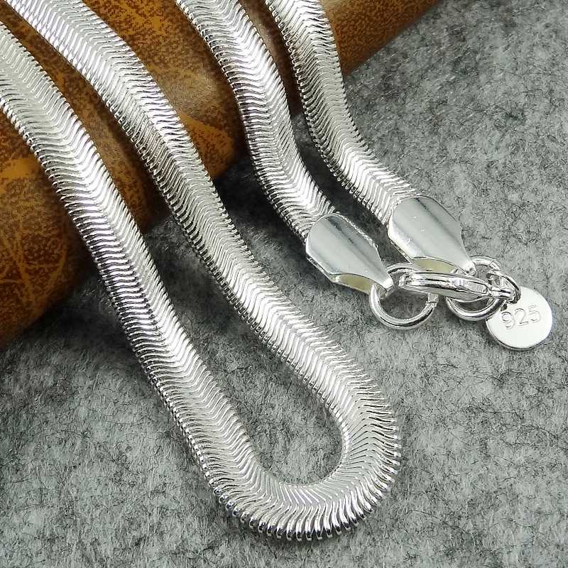 1 Piece 16-24Inch Nice 925 Sterling Silver Smooth Snake Man Necklace Chain With Lobster Clasps Set Heavy Jewelry