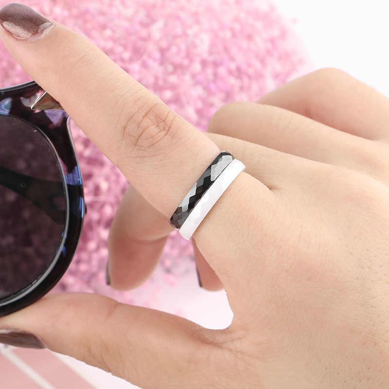Женские керамические кольца с огранкой, черные, белые кольца шириной 3 мм, с граненой поверхностью, обручальные кольца