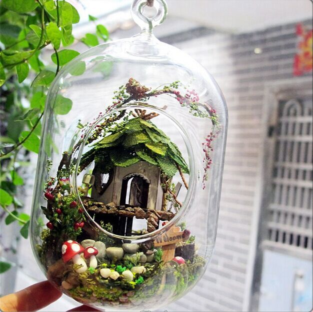 Us 56 68 Glass Terrarium Kit With Village Garden Style Capsule Shape Hanging Glass Teerarium Home Decor In Vases From Home Garden On