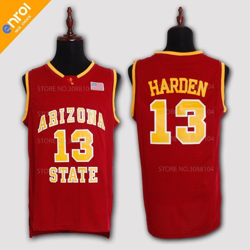 ASU James Harden Pallacanestro Jersey Arizona State University 13 # Bianco/Rosso/Giallo Retro Ritorno Al Passato Cucito Cucito USA bandiera Logo
