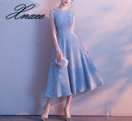 Dress female 2019 new party banquet temperament was thin blue