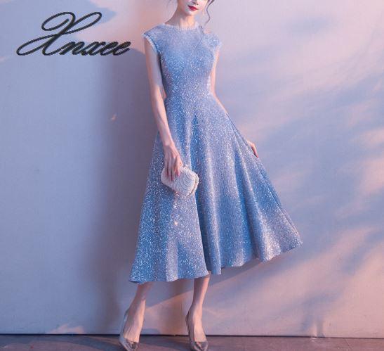 ドレス女性 2019 新党宴会気質だった薄型ブルー  グループ上の レディース衣服 からの ドレス の中 1