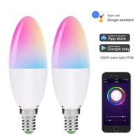 E14 Wi-Fi светодио дный свечи накаливания работает с Alexa Google дома 5 Вт равна 40 Вт светодио дный лампы RGB + теплый белый Цвет меняется настроение ...