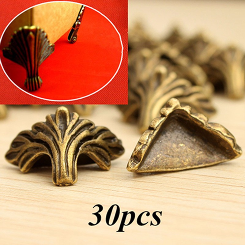 30pcs/lot Box Corner Foot Protector Desk Box Edge Antique Bronze Pattern Carved 19mm X 11mm