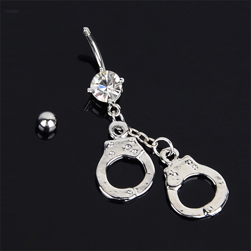 Best-Selling Vogue Handcuffs Rhinestone Crystal Belly Bar Button Barbell Navel Rings Body Piercing 6CL4