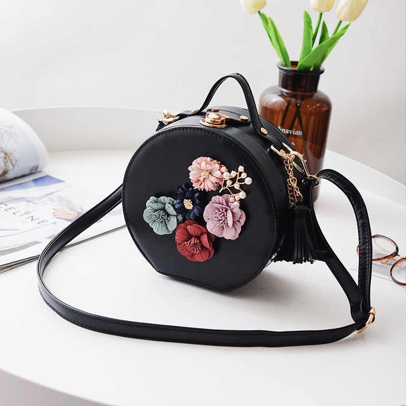 Fringe Flower Fashion Wild Shoulder Handbag New Fashion Small Round Bag 2019 Simple Pu Leather Shoulder Messenger Bag A734