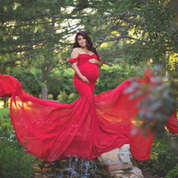 2019 SexyPregnant Mother Dress Maternity Photography Props Women Pregnancy Clothes Lace Dress for Pregnant Photo Shoot Clothing