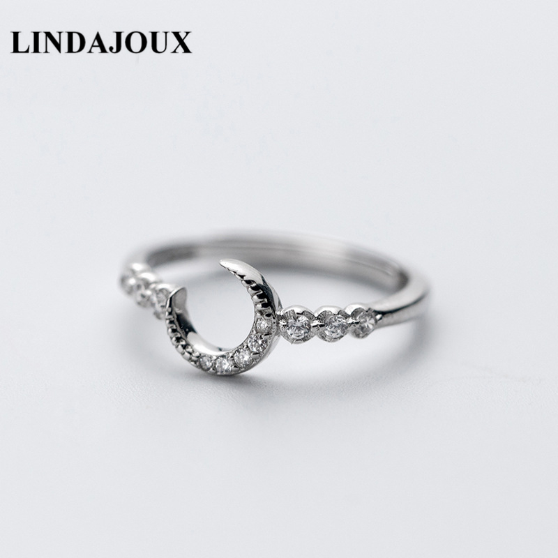 LINDAJOUX 925 Sterling Silver Zircon Filled Moon Charm Open Ring For Women S925 Silver Wedding Engagement Rings