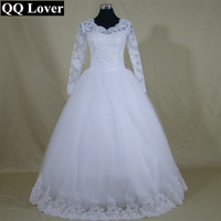 QQ Lover Gorgeous Sheer Ball Gown Wedding Dress Puffy Lace Beaded Applique White Long Sleeve Wedding Gowns Vestido De Noiva