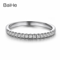 BAIHE Solid 18K White Gold 0.15CT Certified H/SI Round CUT 100% Genuine Natural Diamonds Wedding Women Vintage Fine Jewelry Ring