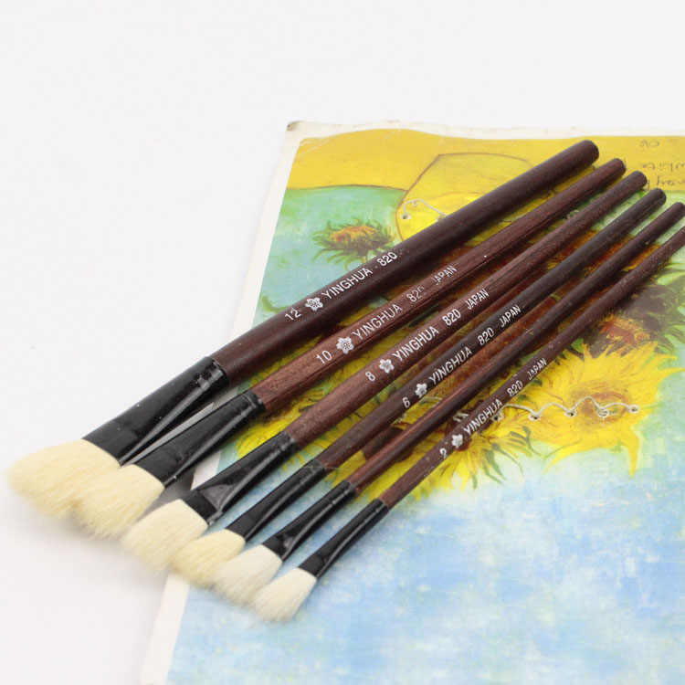 wool sheep flat tail oil painting brush Kids Watercolor Gouache Painting Pen Wooden Handle Paint Brush Set Drawing Art Supplies