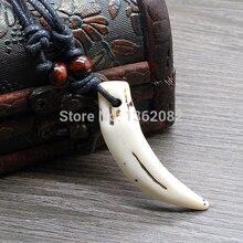 Этнический стиль, имитация кости, резное ожерелье из смолы, зуб волка, деревянные бусины, веревка, ожерелье для мальчика, мужской подарок, MN109