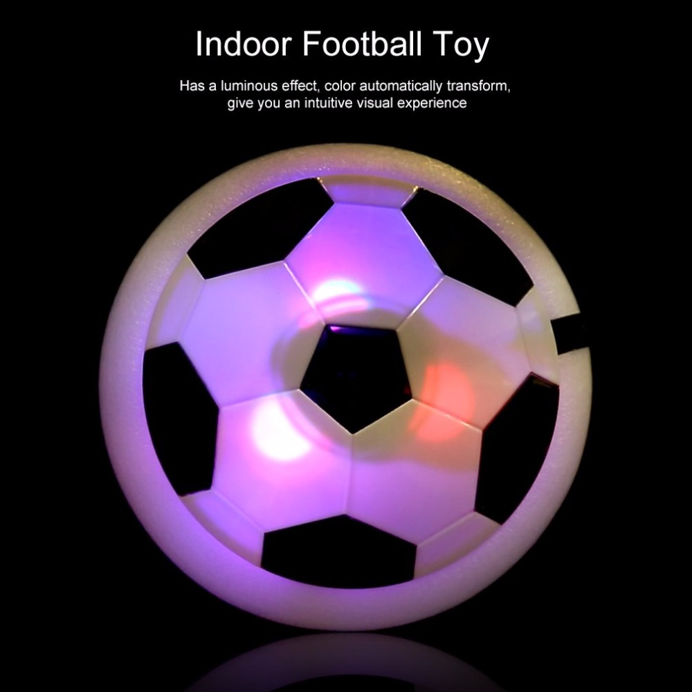 OCDAY 1pc Funny LED Light Flashing Air Power Soccer Ball Disc Indoor Football Toy Multi-surface Hovering Gliding Football Toy
