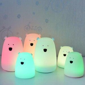 Dropshipping 7 Colors Bear LED Children Animal Night Light Silicone Soft Cartoon Baby Lamp Breathing LED Night Lamp Gift Toy(China)