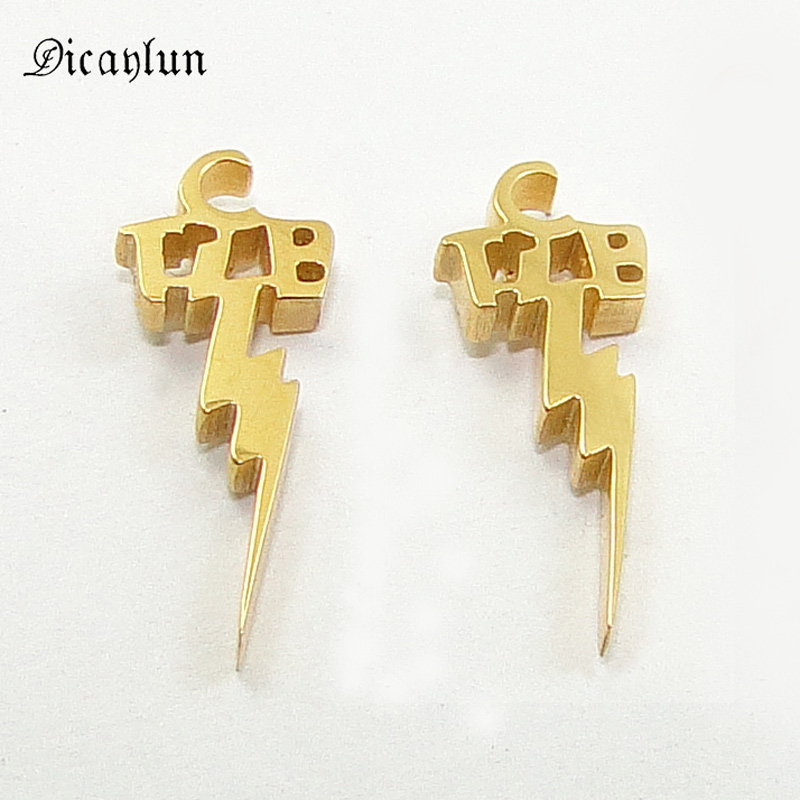 DICAYLUN New Elvis Presley Jewelry Stud Earrings Stainless Steel TCB Lightning Gold Black Silver Earings the King Merorial Gifts
