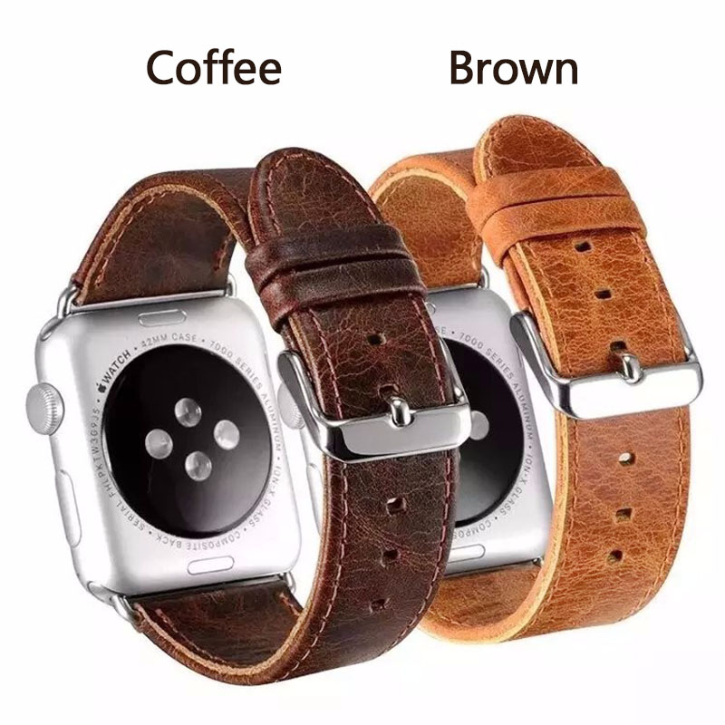 FOHUAS Crazy-horse Grain Genuine leather watchband bracelet for apple watch 38mm/42mm coffee brown все цены
